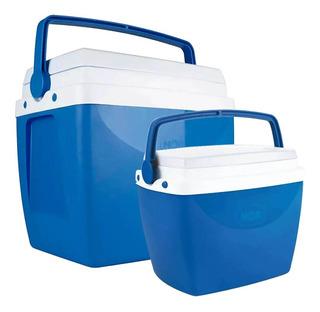 Kit Caixa Térmica Azul Com Alça Mor 26 E 6 Litros