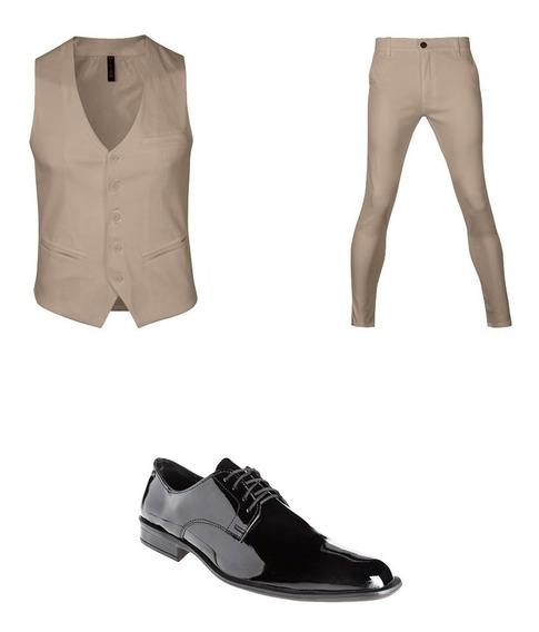 Zapatos De Vestir Con Chaleco Slim Y Pantalon Chupín Hombre