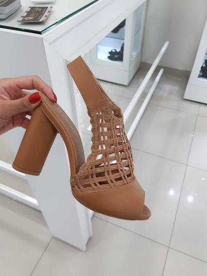 Sandalia Di Cristalli Com Velcro Salto Grosso Feminina