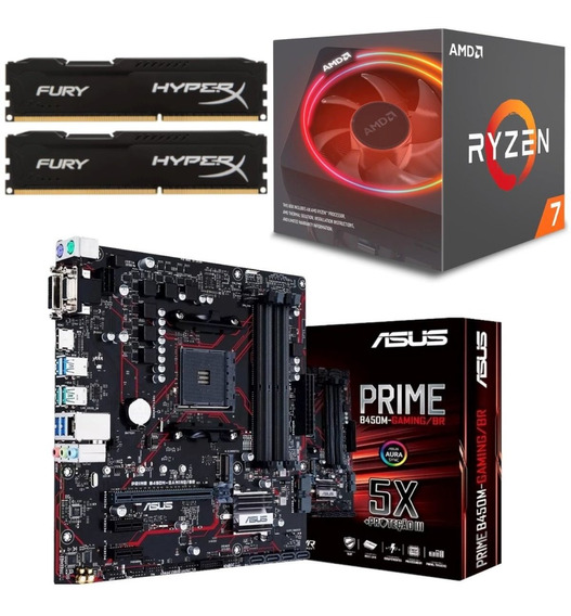 Kit Amd Ryzen R7 2700x + Asus B450m Gaming Br + Hx 16gb 2400