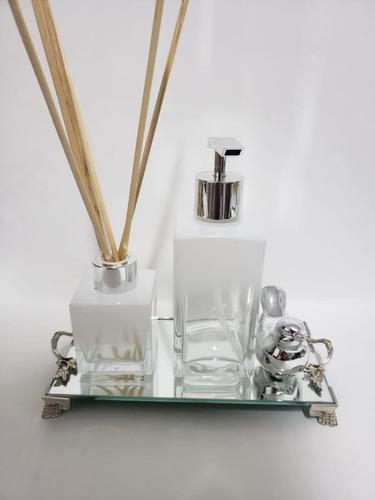 Imagem 1 de 7 de Kit Lavabo Frasco Square Degrade Branco +bandeija Espelhada