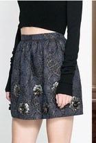 Falda Zara Brocado Apliques Floral L G Nueva #231