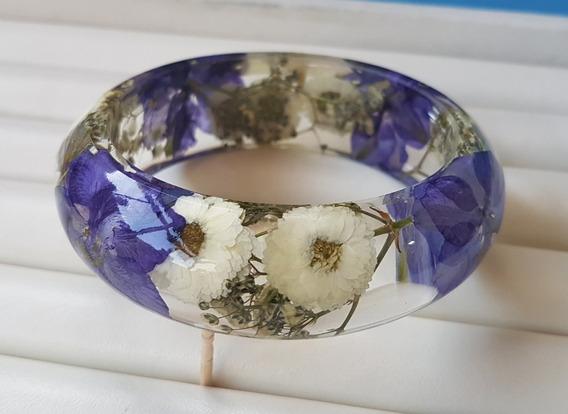 Bracelete Pulseira Resina Transparente Flores Preservadas I.