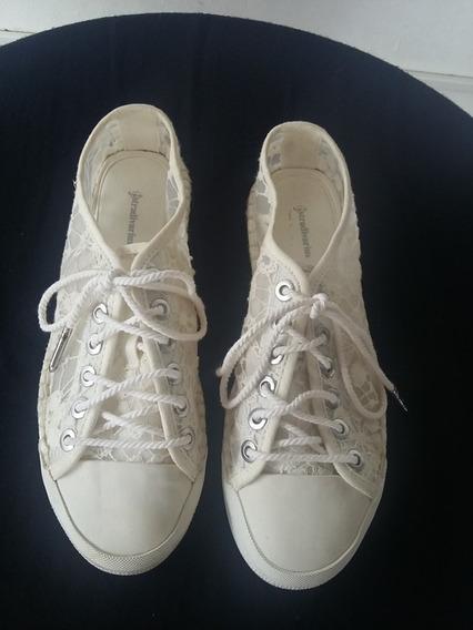 Zapatillas Blancas, En Tela Bordada, &stradivarius, Mujer.