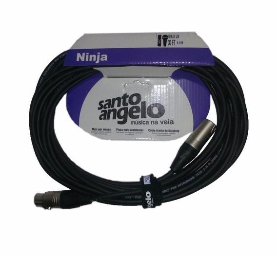 Cabo Microfone Xlr Ninja 30ft 9,15m Balanceado Santo Angelo