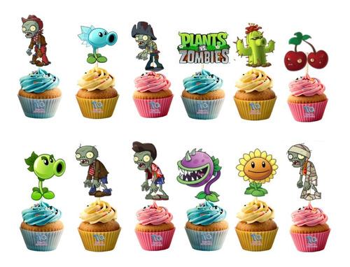 Imagen 1 de 6 de Plantas Vs Zombie Cupcake Toppers Adorno Para Muffins X10