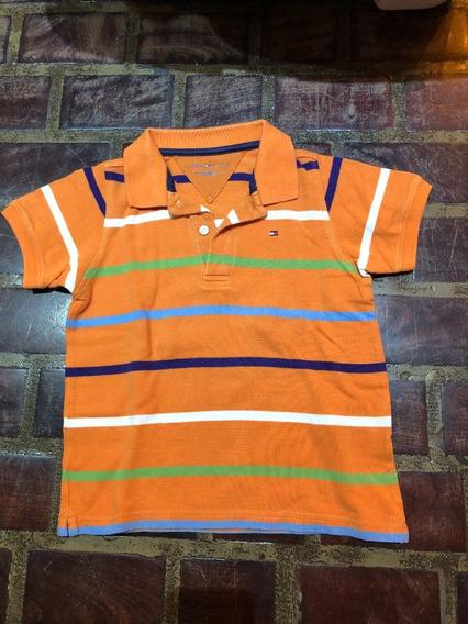 Remera Chomba Pique Naranja Tommy Hilfiger Talle 3