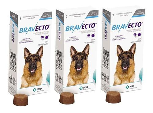 Kit Com 3 Antipulgas Bravecto Para Cães De 20 A 40 Kg - 1000