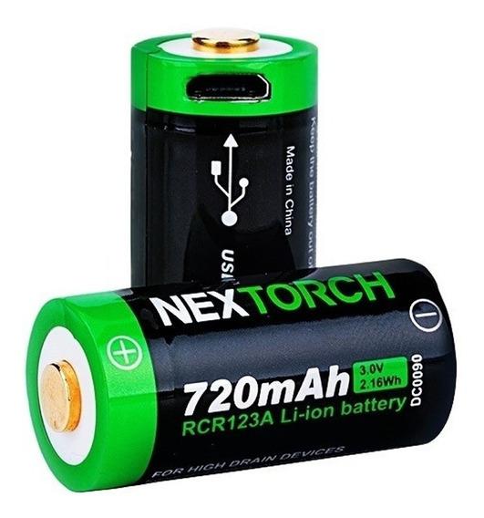 2 Bateria Recarregável Usb Universal 720mah Nextorch Rcr123a
