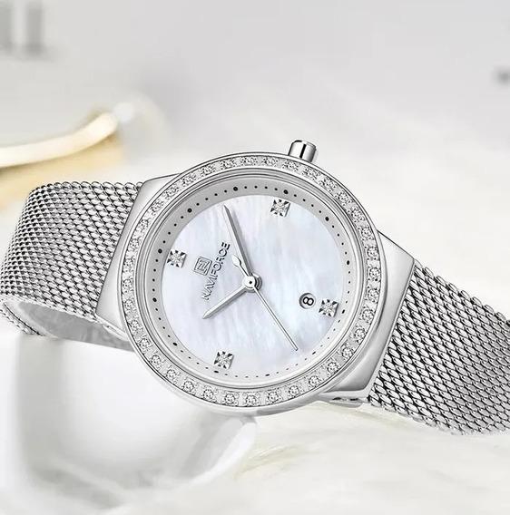 Relógio Feminino Casual Prata Com Branco