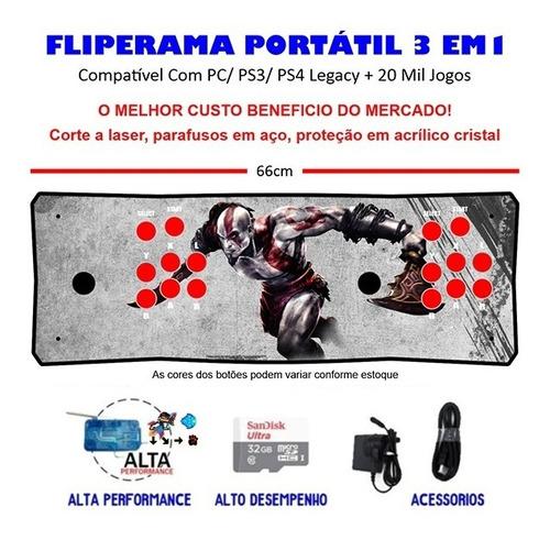 Imagem 1 de 3 de Fliperama Portátil Slim 3 Em 1 - Kratos