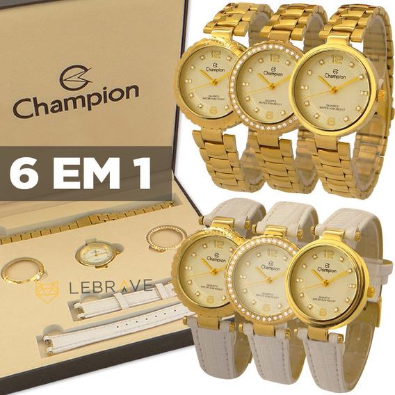 Relógio Champion Feminino Dourado 6 Em 1 Troca Pulseira