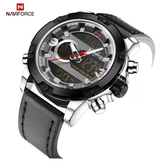 Relógio Masculino Naviforce 9097 Pulseira De Couro