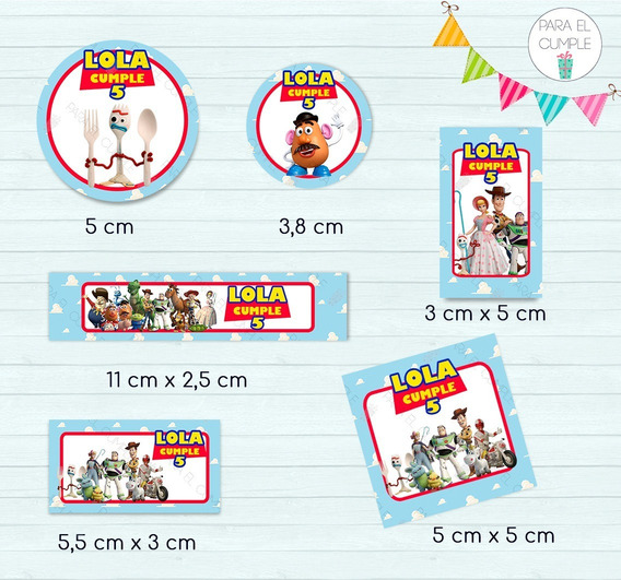 Stickers Etiquetas Candy Bar Toy Story Cortados Kit X120u