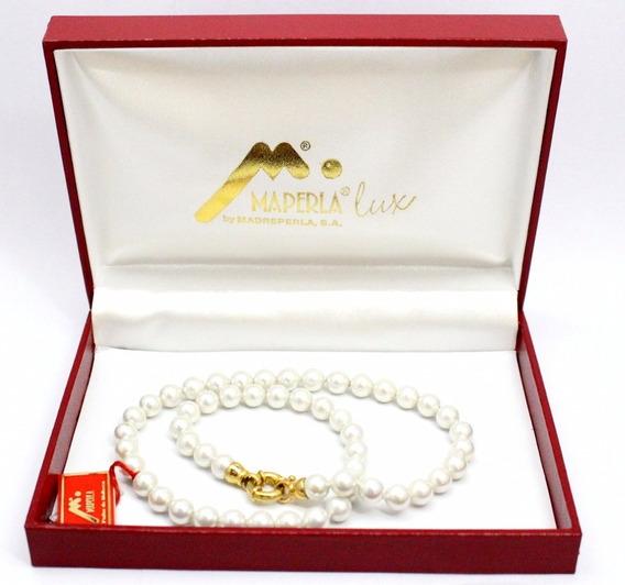 Collar Perlas Españolas 8 Mm Maperla Largo 55cm Gtia 10 Años