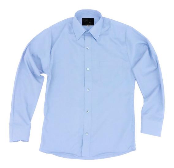 Camisa Vestir Infantil Juvenil Azul Cielo Tallas 2 A 16