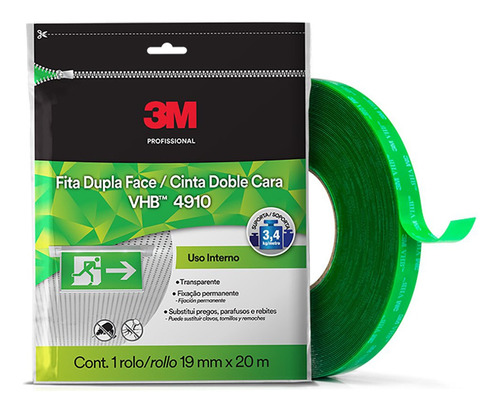 Fita Dupla Face 3m 4910 Transferível 19mm X 20m