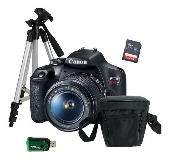 Câmera Canon T7 Rebel + Tripé Mini + Cartão De Memória + Bag