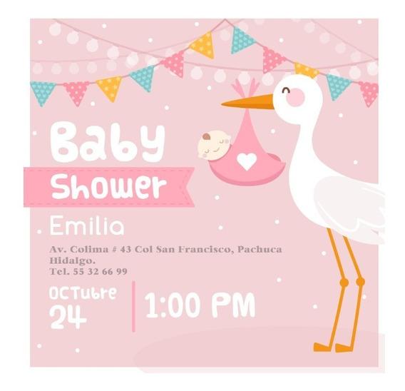 Invitacion Baby Shower Niña Personalizada 3 Imprimible