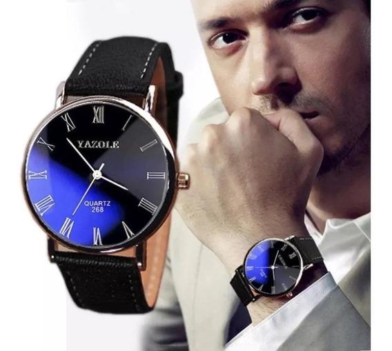 Relógio Luxo Masculino Yazole 268 Pulso Social Pulseira Couro