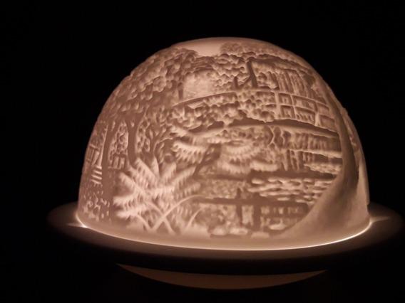 Portavelas Porcelana Limoges Francia Fanal Candelabro