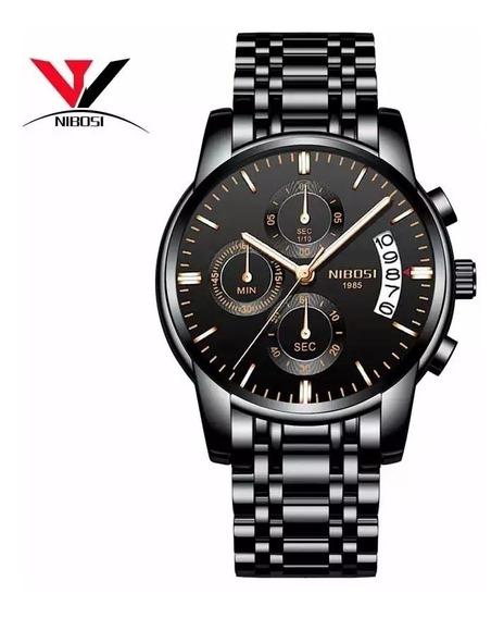 Relógio Masculino Nibosi Dourado Aço Inoxidável + Envio 24hr