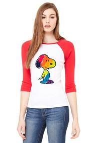 Playera 3/4 Snoopy De Colores, Mujer.