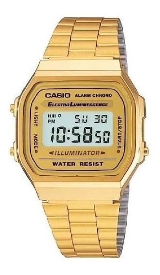 Relogio Casio Unisex A168 Vintage Retro Dourado A168ewg-9wdf