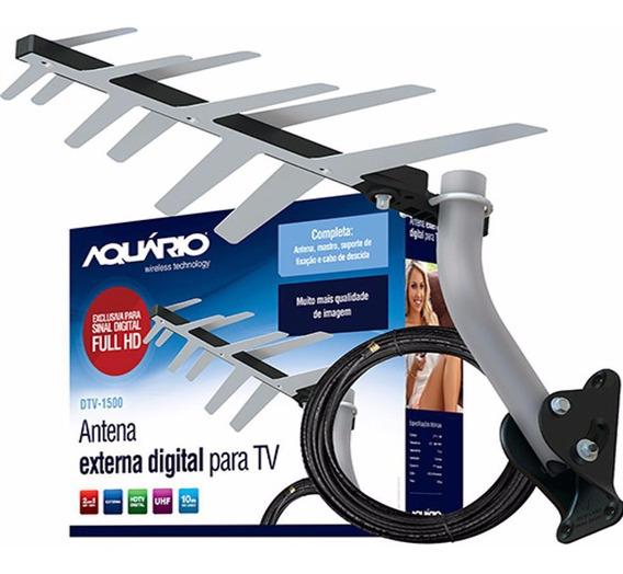 Antena Externa Digital Completa Instalar Aquário Dtv-1500