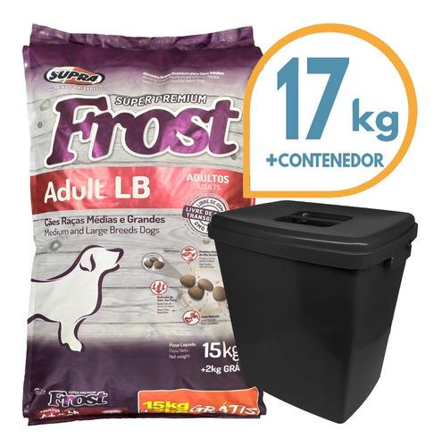 Imagen 1 de 2 de Comida Perro Adulto Frost Lb Raza Grande 17 Kg + Contenedor