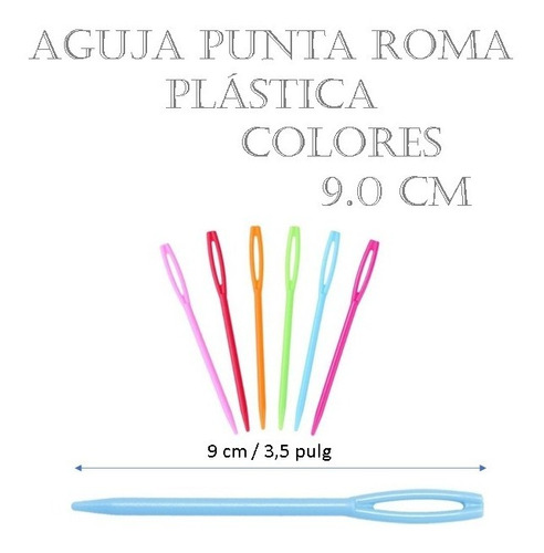 Aguja Lanera Punta De Roma Plástica Colores 9.0 Cm