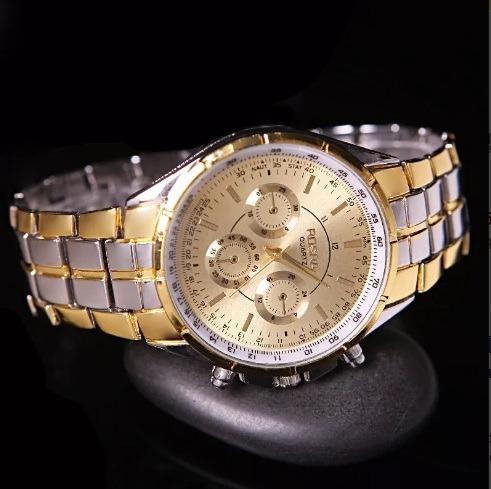 Relógio Masculino Feminino Barato Cromo Prata Dourado Rosra