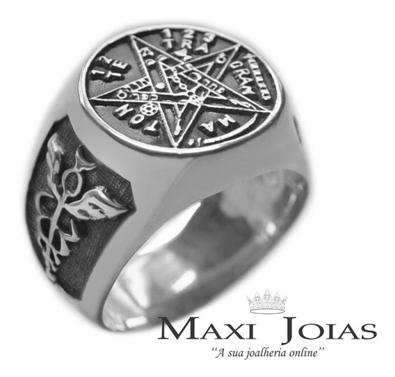 Anel Tetragrammaton Caduceu De Mércurio Em Prata Maciça 950
