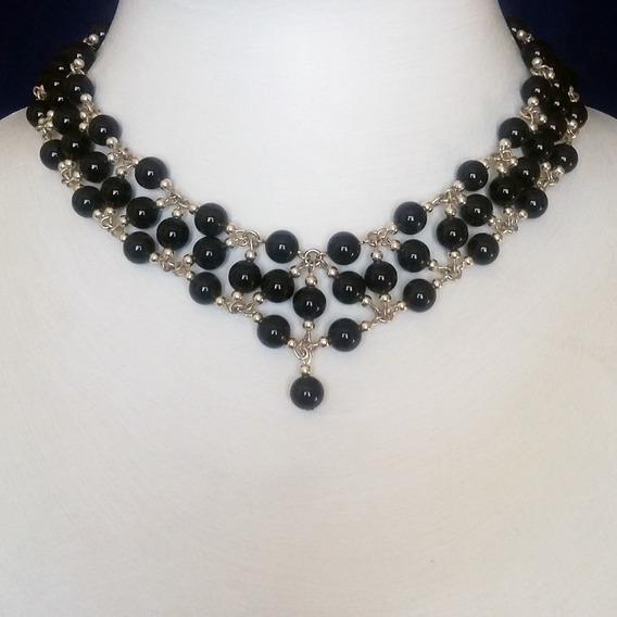 Collar-gargantilla Onix Negro En Plata 925