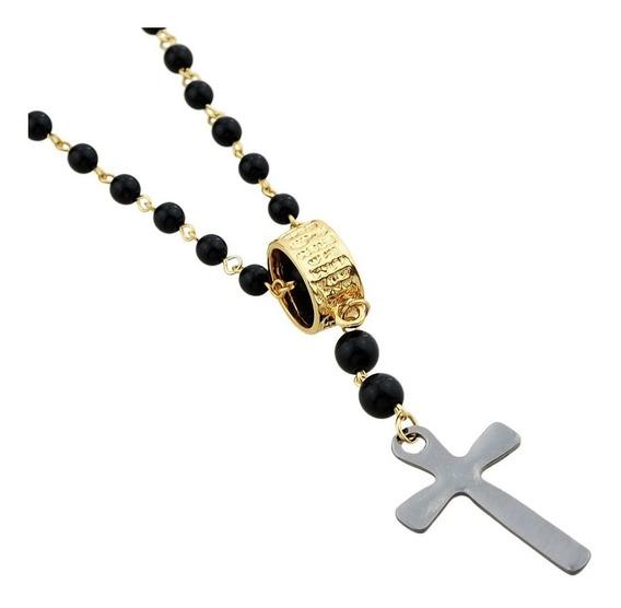 Colar Unissex Religião Terço Rosário Cruz Crucifixo Preto