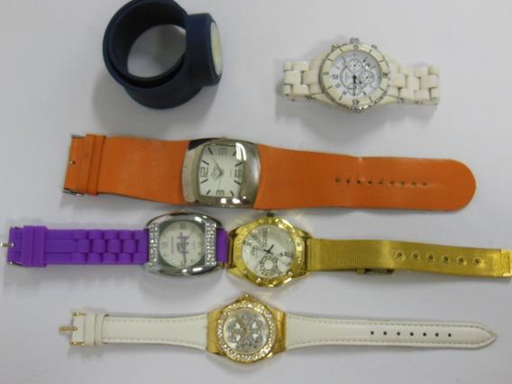 Lote Misto Com 6 Relógios De Pulso Couro/aço Usados Ótimo
