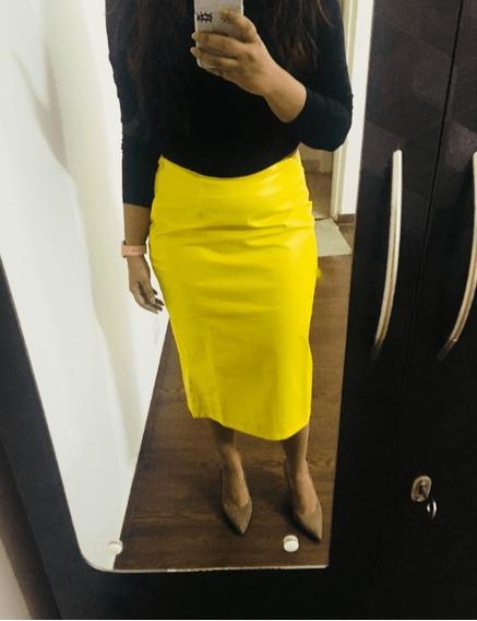 Falda De Cuero Sintético Amarilla