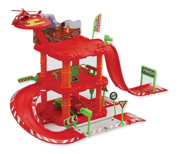 Pista De Carrinhos Brinquedo Infantil Helicóptero Auto Posto