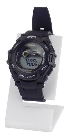 Relógio Masculino Prata Preto Branco Original Barato