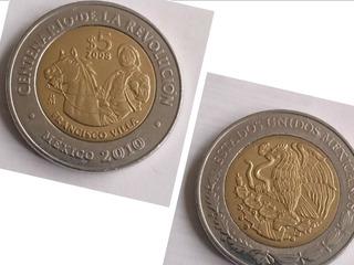 1 Moneda 5 Pesos 100 Aniversario Revolucion Francisco Villa