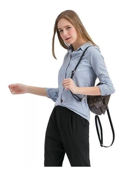 Camisa Dama Celeste Mujer Rayada Elastizada Entallada