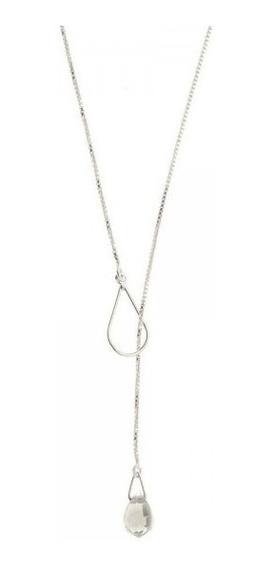 Gargantilha Gravatinha Cristal Colar Em Prata 925 Ajustável
