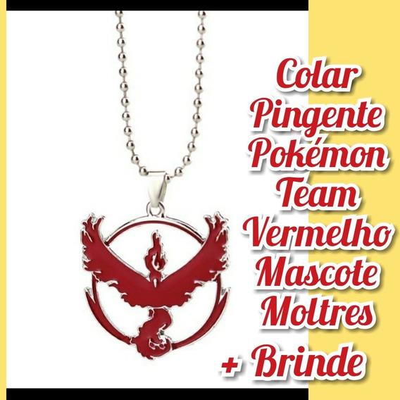 Colar Pingente Pokémon Team Vermelho Mascote Moltres
