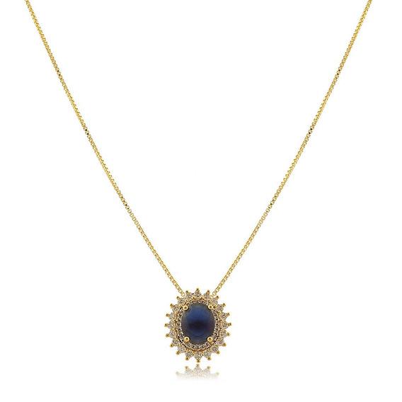 Colar Pedra Oval Azul Safira Folheado A Ouro 18k.