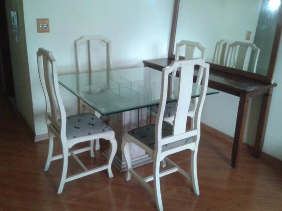 Aparador De Madeira Espelho Grande + Mesa De Jantar Cadeiras