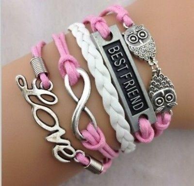Bracelete Best Friend Coruja Love Rosa Couro Ecológico