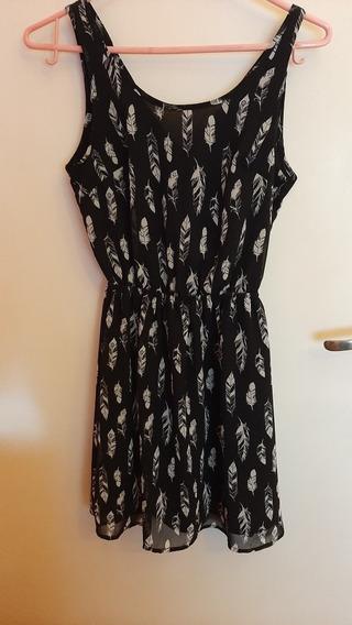 Vestido De Gasa Negro Con Plumas Blancas H&m Talle 32 (xs)