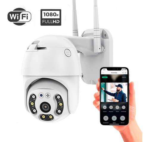 Imagen 1 de 6 de Cámara Seguridad Ip Wifi Domo Ptz 360 Exterior Full Hd Flash