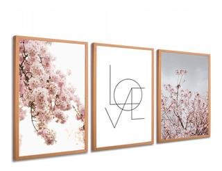 Quadros Decorativo Love Flores Cerejeira Moldura Rose Gold