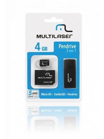 Cartão De Memória Micro Sd 4gb C/ Leitor De Cartão E Adaptad